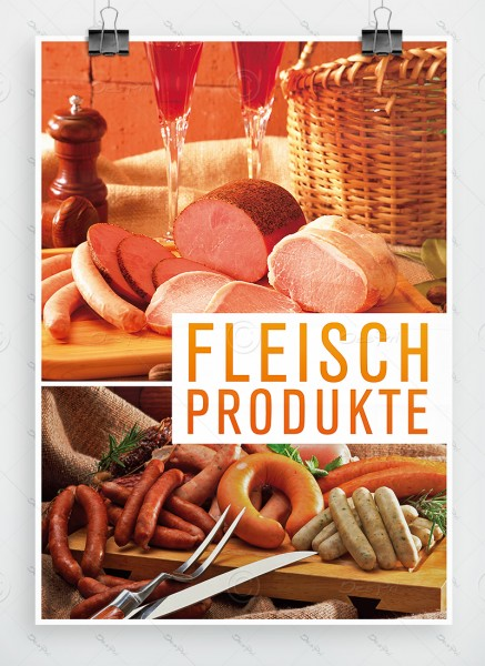Fleischprodukte - Plakat, Werbeplakat, Metzgerei Poster, DIN A1, P0013