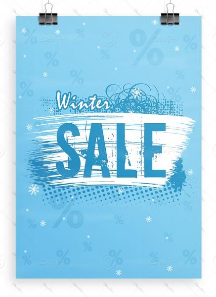 Werbeposter - Winter Sale - Plakat - Werbeplakat, hellblau, A1, P0062A