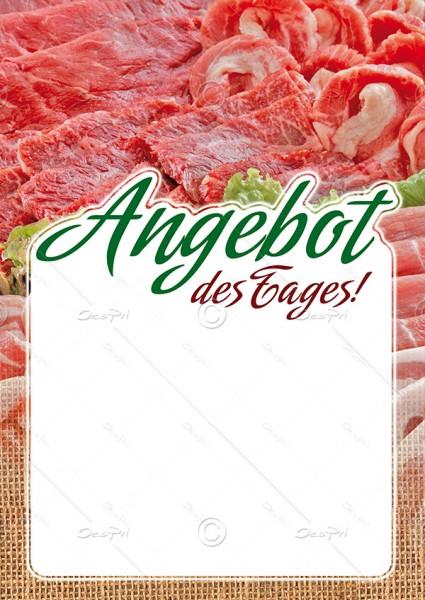 Preisschilder mit Textfeld - Angebot des Tages! Metzgerei, F0018, 25er Set