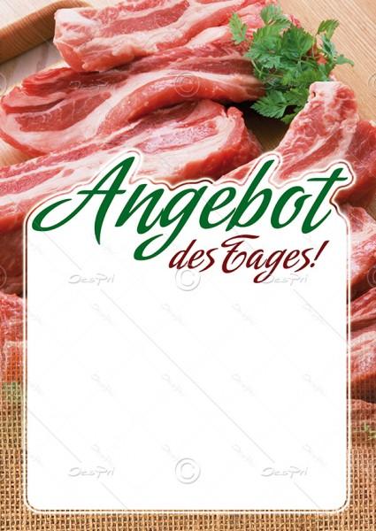 25x Preisschilder mit Textfeld - Angebot des Tages! Metzgerei, F0021