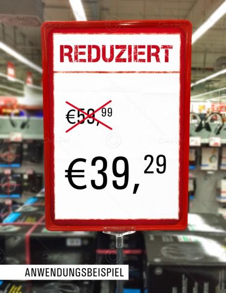 25x Preisschilder, Werbeschilder - Reduziert, mit Textfeld, F0003, Rot