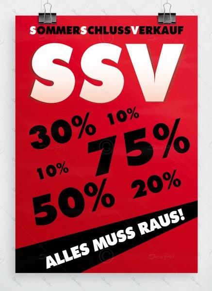 Sommerschlussverkauf - Alles muss raus - Plakat, rot, DIN A1, P0002A