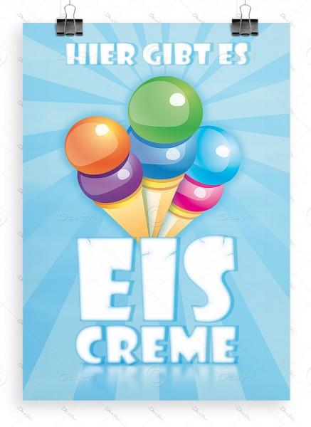 Hier gibt es Eiscreme - Werbeplakat DIN A1, Poster, P0022 - Eiscafe Werbung