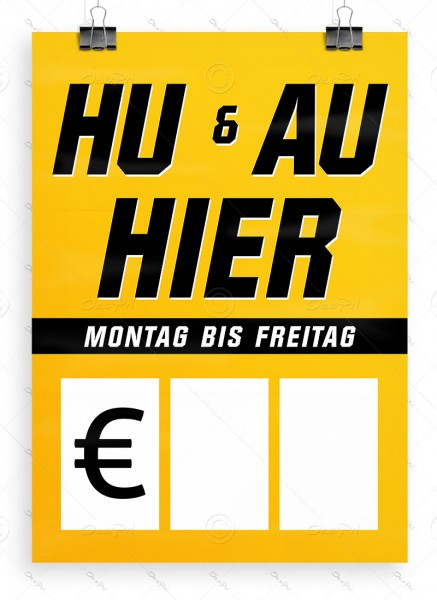HU und AU hier - Autowerkstatt Werbeplakat by Despri, DIN A1, P0106